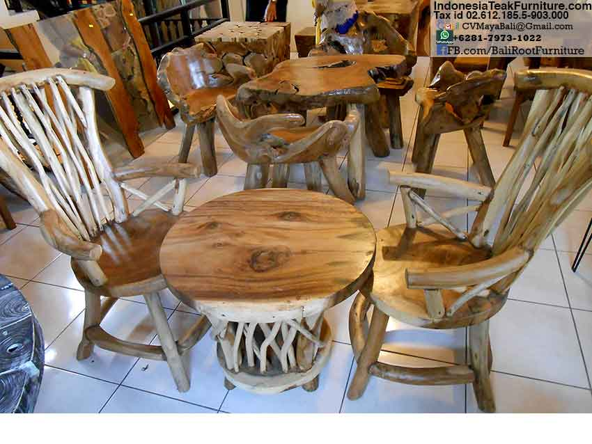 Teak Wood Chairs Table Furniture Set Bali Indonesia  Bali-Crafts