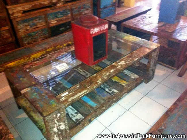 Reclaimed Boat Wood Furniture Coffee Table Glass From Bali Indonesia –  Bali-Crafts.com - Reclaimed Boat Wood Furniture Coffee Table Glass From Bali Indonesia